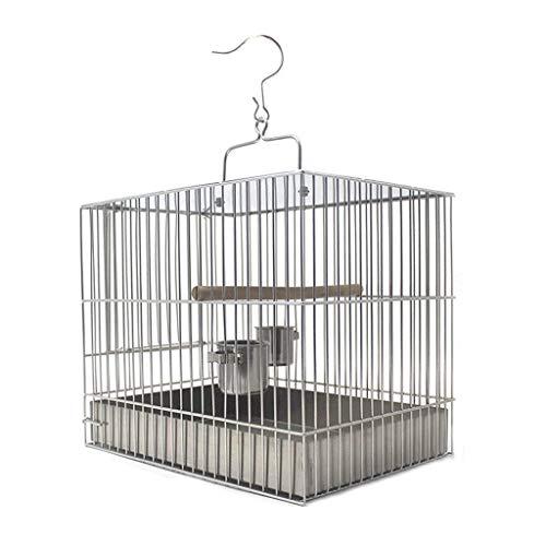 DFBGL Jaula para pájaros de Acero Inoxidable de Primera Calidad, Jaula para pájaros portátil para Loros, Perla, Jaula para pájaros de Metal (tamaño: 27 cm de Alto)