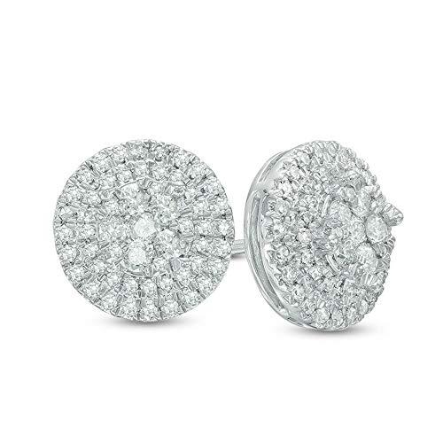 2Hearts 1/2 CT. T.W. Aretes con marco de diamante transparente D / VVS1 de corte redondo en plata de ley 925 chapada en oro blanco de 10 quilates