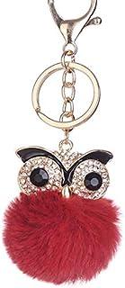 Luxurious Owl Rhinestone Faux Fur Ball Pendant Women's Keychain Car Key Ring Hanging Birthday Gift Bag Decoration,Colour:L...