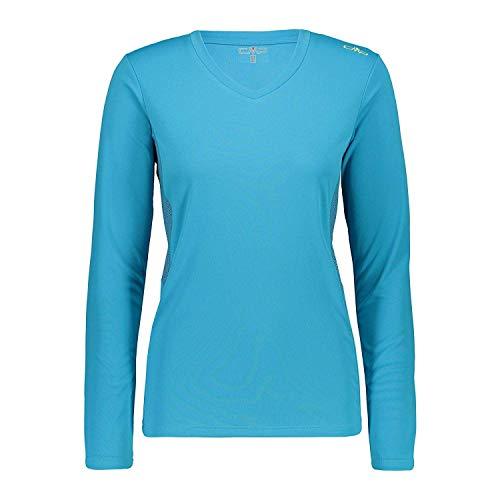 CMP Maillot de Course Haut Femme Tee-Shirt Blau Respirant Protection Anti-UV Séchage Rapide - L609 Curaçao, 38
