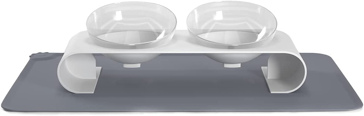 Pantula Cat Bowls Elevated Cat Bowl Magnetic 0-15° Raised Double Cat Bowl Tilted Food Water Bowl Angled Cat Food Bowl for Kitten Feeding Cat Dish with Food Mat(Clear)