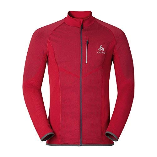 Odlo Velcity Midlayer Full Zip Sweat-Shirt À Capuche Sport, Multicolore (Jester Red 30259), Small Homme
