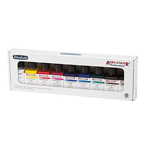 Schmincke - AERO COLOR Professional Grundfarben, 9 x 28 ml, 81 108 097, feinst-flüssige und höchst lichtechte Acrylfarben, Airbrush, Acrylmalerei, Mixed Media-Techniken, Acryltinte