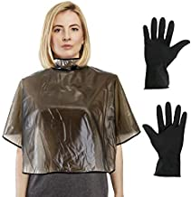 CCbeauty Short Salon Hair Cape and Reusable Gloves Set, Waterproof Capes for Cutting Styling Coloring Shampoo Beauty Makeup Beard Shaving Cloth(Hair Dye Set Brown)