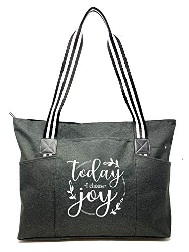 Large Inspirational Zippered Tote Bags for Women - (Choose Joy Black)
