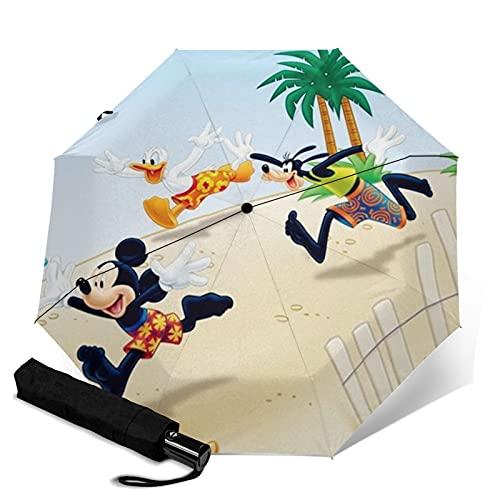 Mickey Cartoon Mouse Goofy Donald Duck Paraguas plegable, ligero, resistente al viento, impermeable, parasol automático