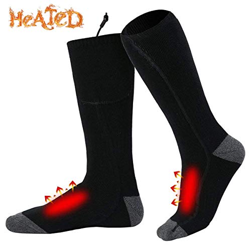 Yanqueens Rechargeable Battery Heated Socks Kit Chronically Cold Feet Women Men (Blac)