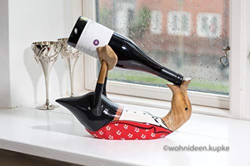 Wohnideen Kupke (Wein Flaschenhalter Handgefertigte Dänische Ente aus Naturholz (33cm x 24cm) dekorativ in schwarzer Hose mit weißem Hemd und rotem Blümchen Jackett
