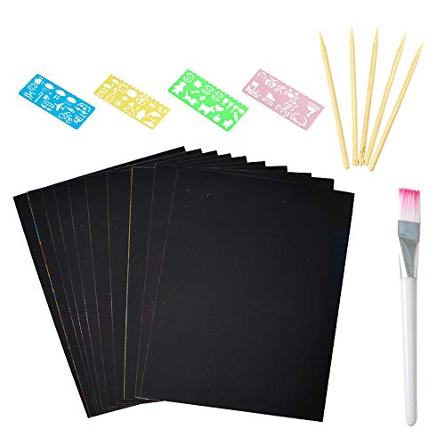 MOPOIN Kratzbilder für Kinder, Kratzbuch Kratzpapier Set Kinder DIY 50 Stück Blätter Regenbogen Kratzpapier für Kreativ Geschenk Zeichnen,mit Schablonen,Bambus Stift (32K)