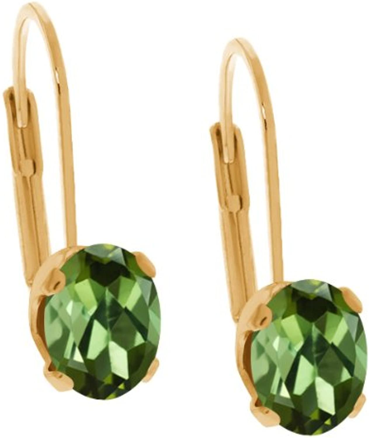 1.00 Ct Oval Green Tourmaline 14K Yellow gold Earrings