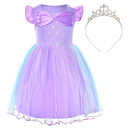 Party Chili Princess Mermaid Costume Purple Dress for Toddler Girls Dress with Crown(5T 6T)