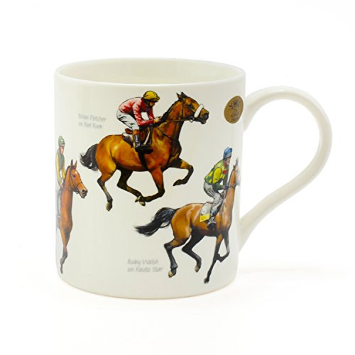 The Leonardo Collection Winning Post Fine China Windsor Mug ,Horse Racing Design, Famous Horses & Jockeys Perfect Cup for Fans of Horse Racing