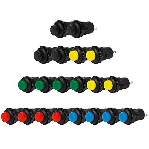 Larcele 20x 12mm Plastik DIY Momentary Push Button Metall Mini Drücken Taster Druckknöpfe ANKG-03 (5 Farben)