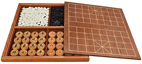 YZ-YUAN Juegos Casuales Accesorios para el hogar Juego de ajedrez Chino Lcxliga Adulto Principiante Bandeja de Almacenamiento de Doble Cara de Madera Maciza para el hogar