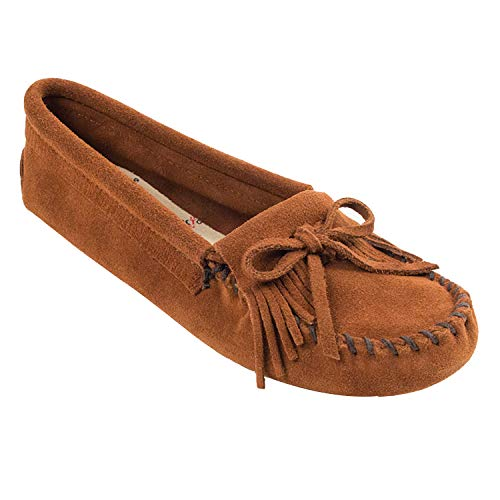 Minnetonka Women's Kilty Suede Softsole Moccasin,Brown,7.5 M US