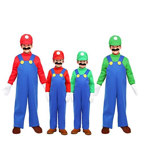 Pegasus Costume Mario/Luigi Bambino Vestito Carnevale Party Made in Italy (S 5/6 Anni, Verde/Blu Luigi)