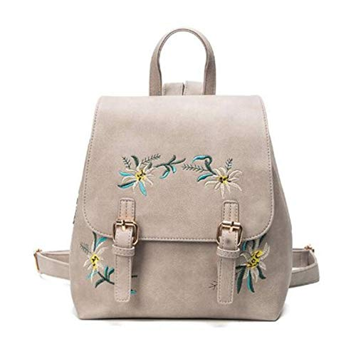 None/Brand Backpacks Women Leather Small Floral Embroidery Flowers Female School Bags