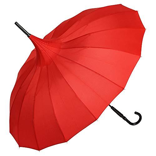 VON LILIENFELD Regenschirm Hochzeitsschirm Sonnenschirm Stabil Stockschirm Pagode Charlotte rot