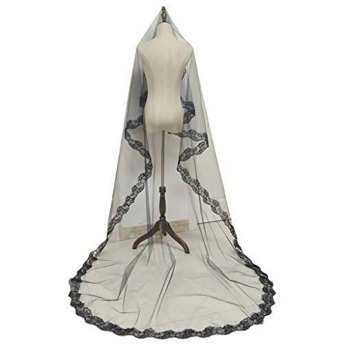 RG-FA Encaje borde Halloween boda velo largo catedral nupcial tocado novia accesorio...