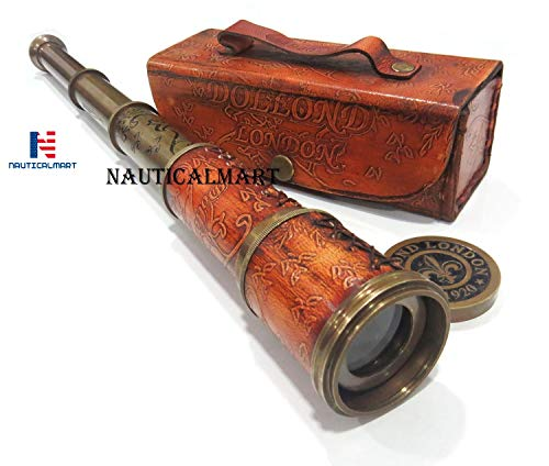Brass Nautical Antique Working Telescope/Spyglass Replica in Leather Box, with Glass Optics, Extendable to 16 inches, Made of Pure Brass, Decorative Kids Scope