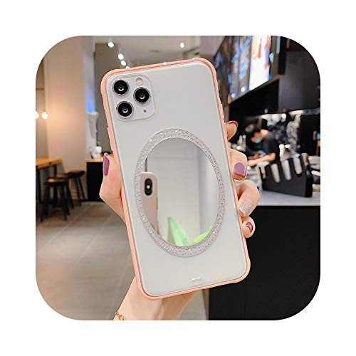 Carcasa para iPhone 11, Luxury Make-up Mirror Phone Case para iPhone 11 Pro Max XR XS Max 7 8 Plus X Crystal Mirror Candy Mate Soft Back Cover-Pink-for iPhone 11