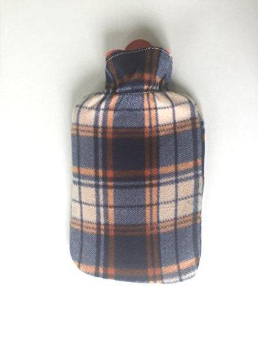 Bolsa agua caliente con funda estampada de diseño – 2 Litros – color azul oscuro cuadros escoceses, funda lavable – fácil de usar