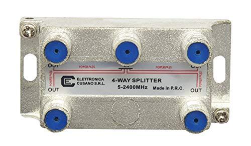 Elettronica Cusano 8451 - Splitter Satellitare 4 Vie, Partitore Antenna Tv da Interno con Connettore F, Splitter Satellitare, Ripartitore Antenna Tv, Partitore Tv Sat