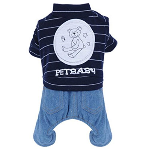 zoonpark® Hund Winter Kleidung, gestreift Denim Fleece Futter Baumwolle Warm Winter Pet Pyjama Teddy Chihuahua Vier-Beiner Katze Hund Puppy Hoodie Coat Jumpsuit Denim Kleidung Apparel für kleine Hunde