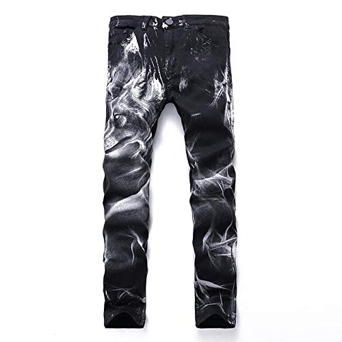 Vaqueros para Jeans Pantalones Club Nocturno para Hombre, Pantalones Vaqueros con Estampado De Lobo Negro, Estampado Punk, Delgado, Recto, De Algodón, con Estampado Informal, Panta