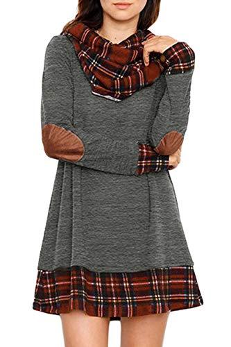 Ancapelion Damen Langarm Minikleid Kariertes Kleid Rollkragen Strickkleid A-Linie Sweater Herbstkleid Lose Kleider Pullover Kleid für Winter Herbst, Grau, S