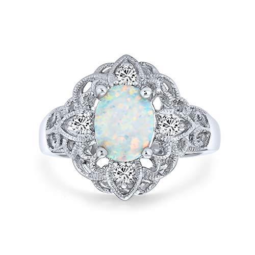 Bling Jewelry Antiguo Zirconio Cúbico Filigrana Adornados Flores Oval Blanco Ópalo Creado Plena Dedo del Anillo Largo Plata 925