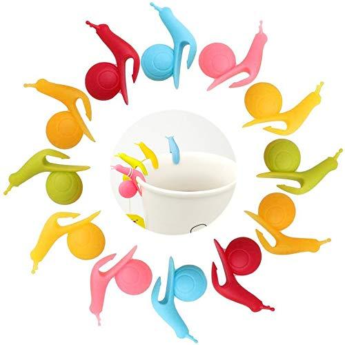 Segnabicchieri in Silicone, 30 Pezzi Bustina di tè in Silicone Bustina di tè a Lumaca Colorato Segnabicchieri per Bicchieri da Vino per Riconoscere il Proprio Bicchiere di Vino in Occasione di Feste