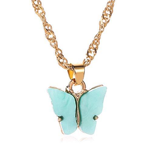Collares Colgante Joyas Nuevos Collares con Colgante De Mariposa Acrílica De Color Caramelo Bohemio para Mujer, Cadena De Cuentas De Moda, Clavícula, Joyería De Moda-43578
