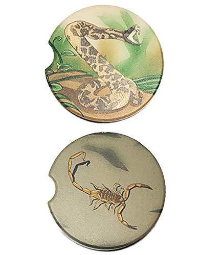 Posavasos de coche con diseño de monstruos del desierto de serpiente y escorpión, diseño del sudoeste, tamaño estándar, 2,5', paquete de 2 diferentes diseños de posavasos de cerámica para coche