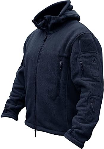 TACVASEN Herren Fleecejacke Military Outdoor Winddichte Jacke mit Kapuze- Gr. M, Navy Blau