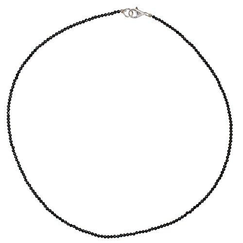 I-be, Schwarzers Spinell Collier/Kette tiefschwarz Ø 2 mm, 925 Sterling Silber Karabinerverschluss, Länge 42 cm im Geschenketui 446602/black/42