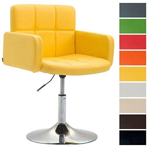 CLP Silla Lounge Los Angeles En Cuero Sintético I Butaca De Salón Giratoria & Regulable en Altura I Taburete Bajo con Reposabrazos I Color: Amarillo