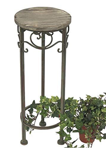 DanDiBo Blumenhocker Metall Rund 64 cm Blumenständer 11135 Beistelltisch Pflanzenständer Holzablage Blumensäule
