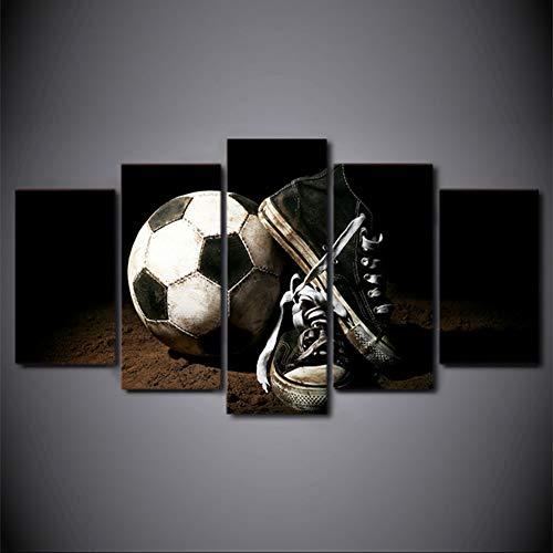 Fbewan Quadri Moderni su Tela Calcio Gli Sport Fans Stampa in Fotografica Immagini su Fliselina Art for Walls Decorativi per La Casa Canvas 5 Pz,Frameless+B,150X80cm(Large)