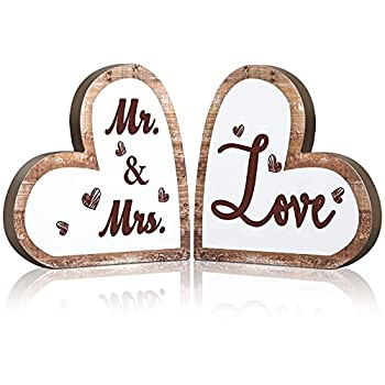 Mr and Mrs Sign Rustic Wood Love Sign Decor Heart Shaped Wooden Signs Decorative Heart Wooden Wedding Table Sign for Wedding Present Home Anniversary Party Valentine s Day