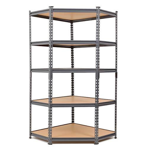 Robustes Eckregal aus Stahl für die Garage, 175 kg pro Regal (5 Ebenen, 1800 mm H x 900 mm B x 450 mm T)