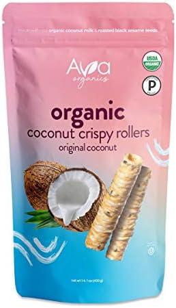 Ava Organics Coconut Crispy Rollers Paleo Gluten Free Vegetarian Original Coconut Family Size product image