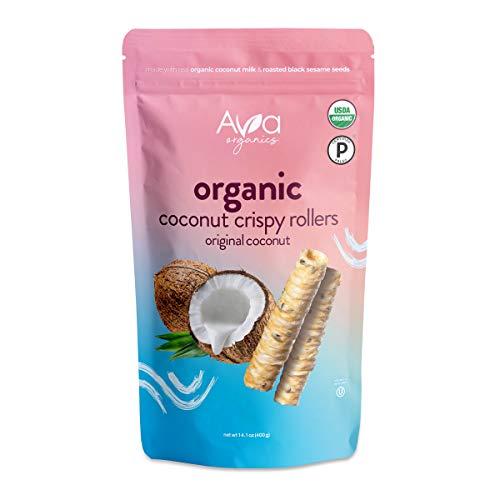 Ava Organics - Coconut Crispy Rollers - Paleo - Gluten Free - Vegetarian - Original Coconut (Family Size 14.1 oz bag)