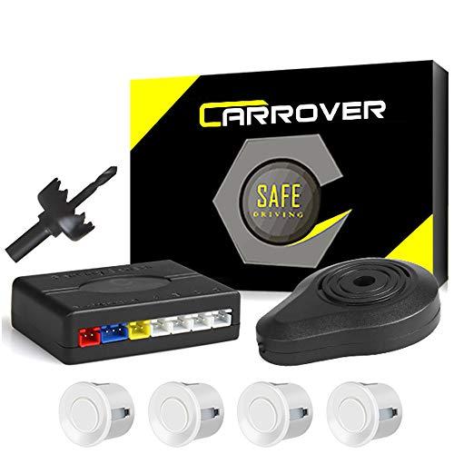 CAR ROVER Auto inversione di Sostegno Sensore di Parcheggio Kit 4 sensori Radar con Buzzer Allarme(Bianco)