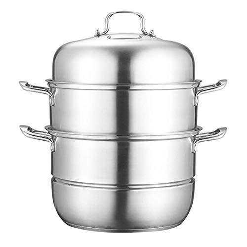 GCP Olla de Vapor, vaporizador de Alimentos de Acero Inoxidable, Juego de vaporizador de inducción para Olla de Cocina con Tapa, ollas Multiusos para Utensilios de Cocina, Olla para cocinar, 30