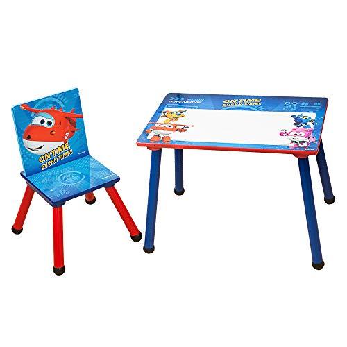 Super Wings 2tlg. Kinder Sitzgruppe Tisch mit Tafeloberfläche 1 x Tisch mit 1 x Stuhle Holz Kinderzimmer Möbel für Mädchen und Jungen C3DZY003-1