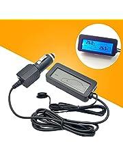 MASO - Termómetro digital para coche con pantalla LCD, de 12 V CC, medidor de temperatura interior y exterior para camión y coche
