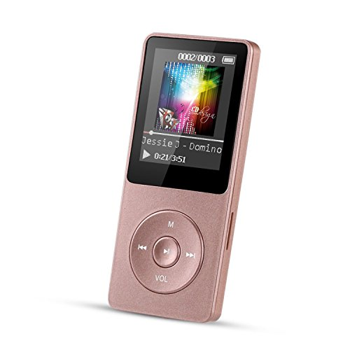 AGPTEK 8GB MP3 Player, 70 Hours Playback Music Player with FM Radio, Voice Recorder, Supports up to 128GB, Rose Gold, A02