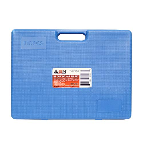 ABN Large Tap and Die Set Metric Tap and Die Kit Rethreading Tool Kit Thread Maker Hole Threader 110-Piece Set, Metric