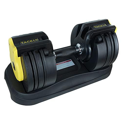 TACKLY Mancuernas Ajustables 3-23 kg – Pesas Gimnasio en casa – Kit de Mancuernas Regulables Ejercicio musculación Gym en casa – Juego de Pesas y Discos Ajustables de 3 a 22,7 kg